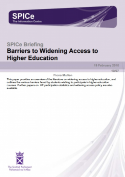 Barriers to Widening Access to Higher Education
