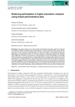 Widening participation in higher education: analysis using linked administrative data